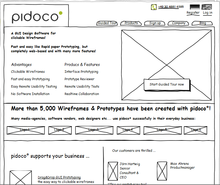 Lo-fi wireframes help to create the architectural structure and to highlight core functions