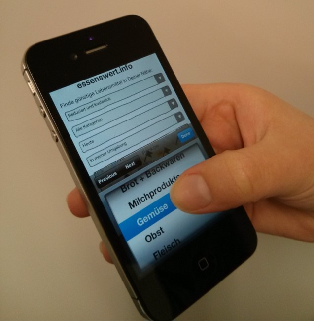User testing mobile prototype on iPhone using Pidoco App