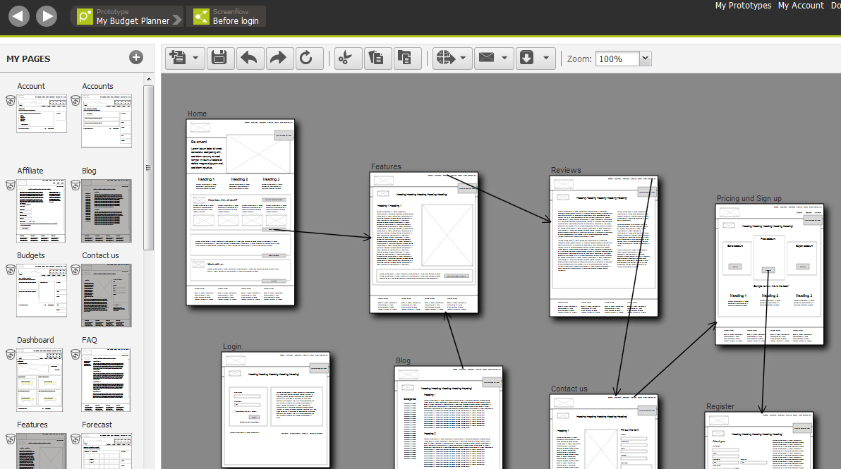 Creating a wireframe screenflow in Pidoco