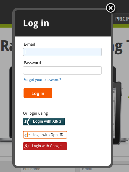 Log in to Pidoco with your XING profile