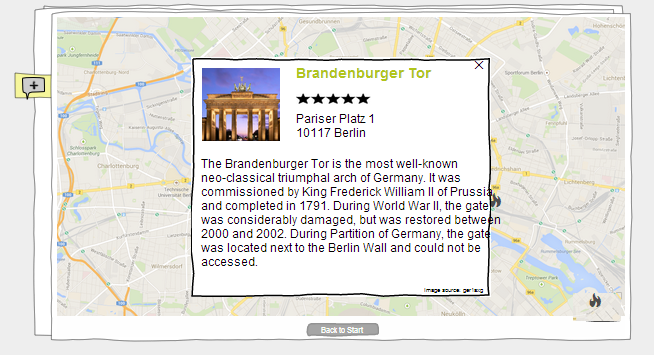 "The map of the ""Berlin UX Guide"" and an opened overlay for the Brandenburger Tor (simulation view)"
