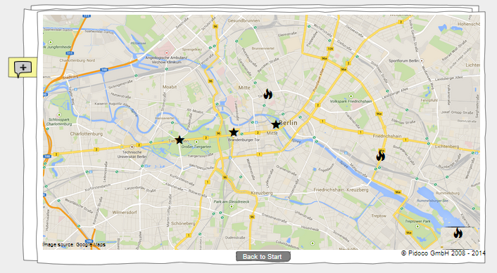 Map of Berlin including already created sights and UX hotspots (simulation view)