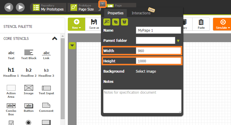 Page dimensions of prototypes are easily adjusted via the page's context menu