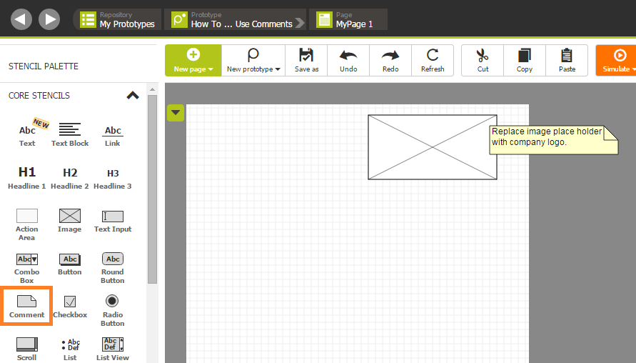Use the Comment stencil to add remarks to prototypes
