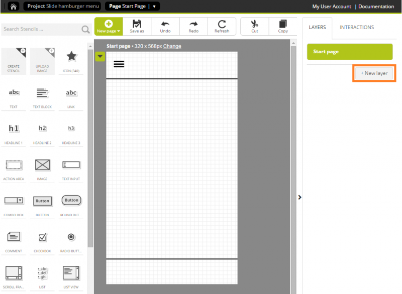 Adding a layer via the My layers panel