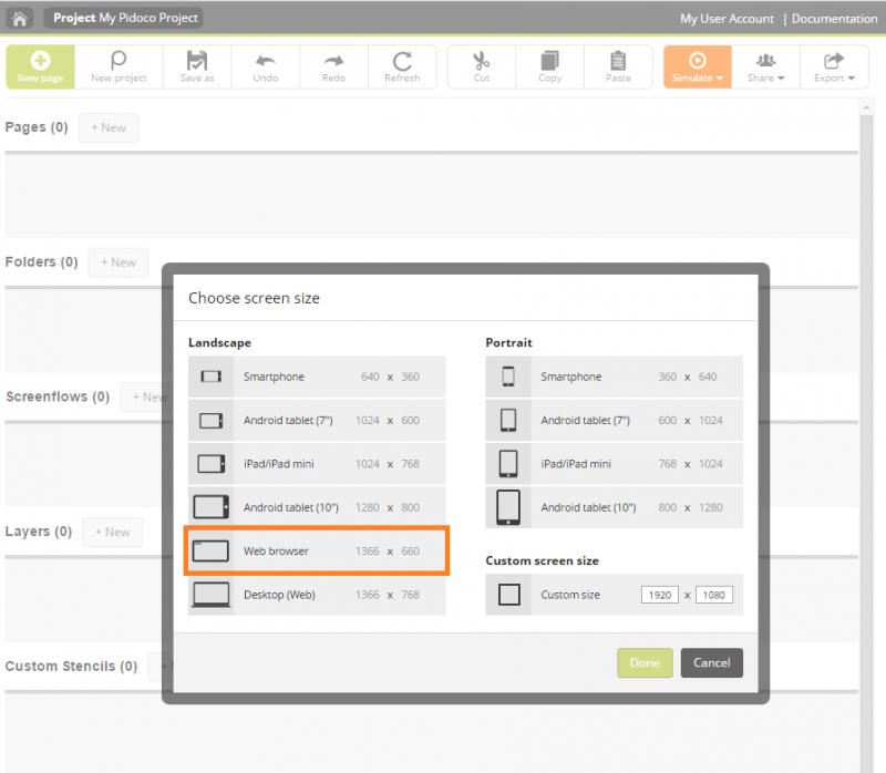 Step 2: Selecting a device-specific screen to start your new project