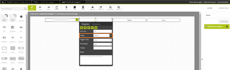Building a tab navigation bar to display the top-level categories and link each tab with the page.
