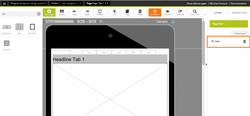Showing the tab navigation on each page by activating the layer
