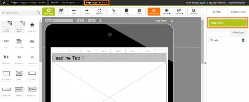 Switching from the layer to the page, you can add content to your page.