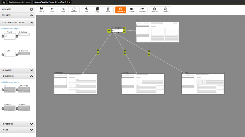 Linking a panel of the accordion menu to the content pages of the respective sub-catogies, shown in a screenflow.