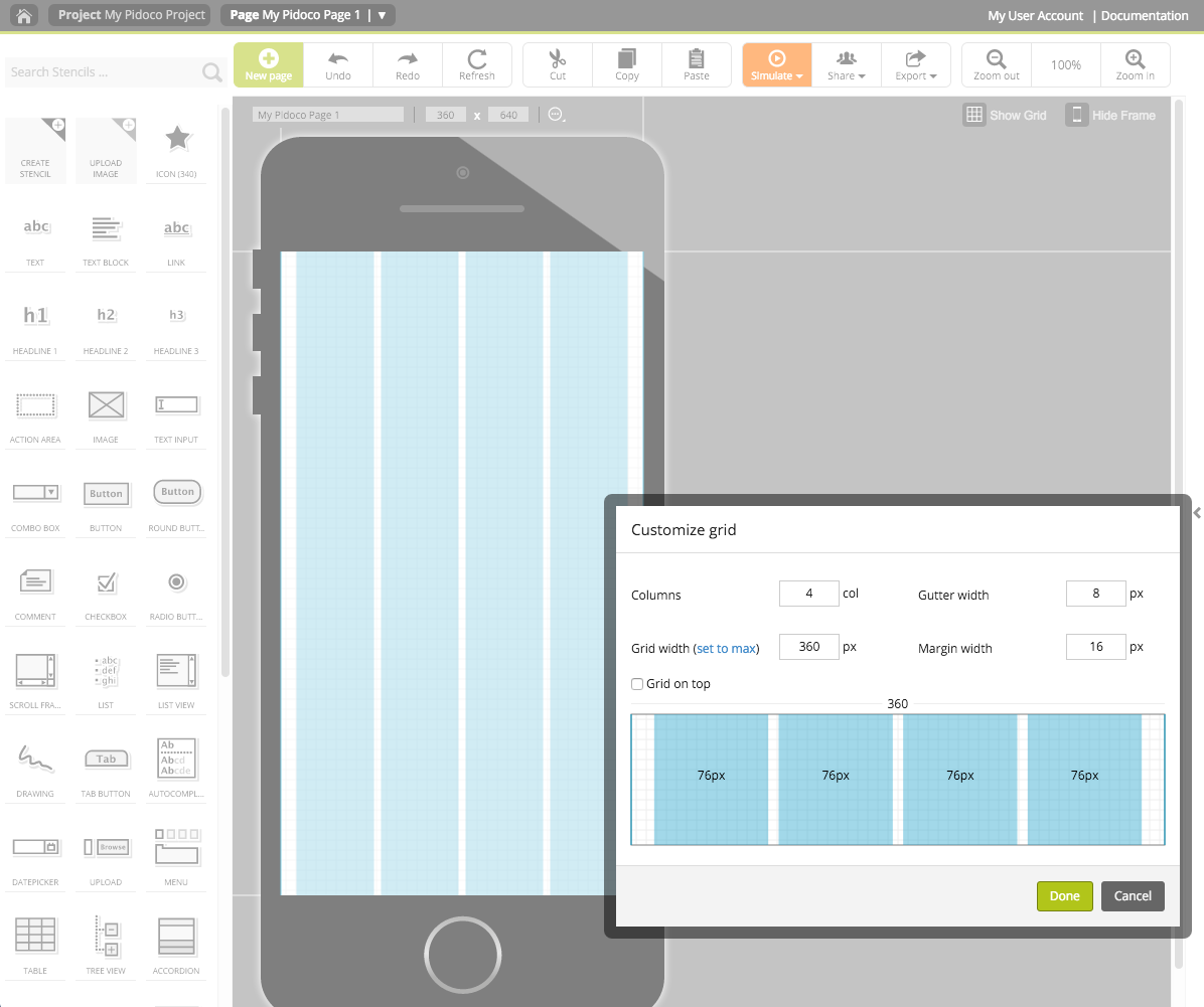 Using the grid to individualize the alignment patterns on your screen