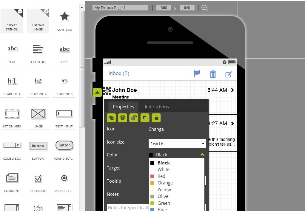 Screenshot of icon color picker