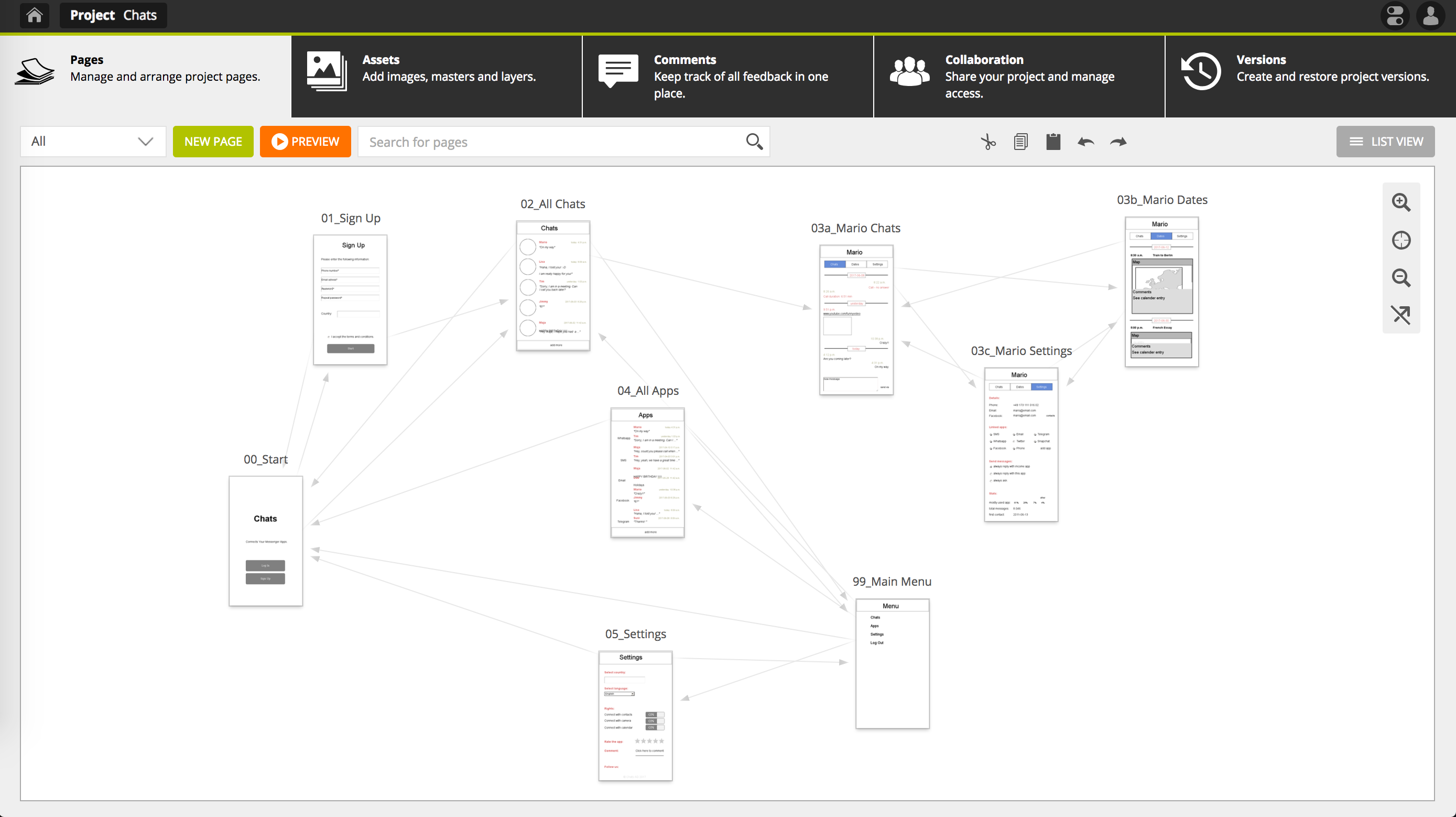 Pidoco Wireframing Tool - Map View